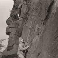 Bernard Wright on Pedestal Route (foreground) at the Roaches in January 1958