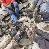 A motley collection of worn out boots and owners! Match the owners to the footwear… (Virginia Castick)