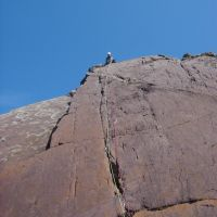 Dave Wylie above The Crack, Porth-y-Ffynnon, Pembroke (Dave Shotton)