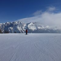 Lone skier and mountains (Peter Walker)