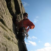 A relaxed Cathy leading Centre Route (Roger Dyke)