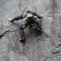 Gareth Williams on Khubla Khan (E4 6b), Never Never Land, Quarries (Alan (L) Jones)