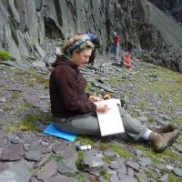 Sue Marsden sketching in the quarries (Alan (L) Jones)
