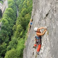 Highly Commended - Rebecca Ting belayed by  Gareth Williams on pitch 2 of Delicatessen, High Tor (Paul Evans)