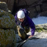 Highly comended - Fiona seconding Capstans Arete on Beaufort Buttress (Dave Wylie)