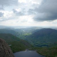 View down Langdale to Windermere from the top of Jack's Rake