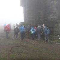 Gathering in the mist at Stoodley Pike Monument (Dave Shotton)